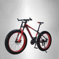 """LAUXJACK telaio in alluminio Mountain bike 24 velocità Shimano freni meccanici 26 """"ruote di x4.0 lunga forcella FatBike"""
