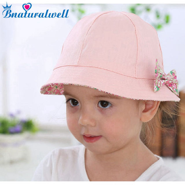 Bnaturalwell Baby Sun Hat Toddler Summer Bucket Hat Panama Baby Girl Floppy  Hat Cotton Beach Hat Wide Brim Reversible Bow H019 6ebd7f43de4