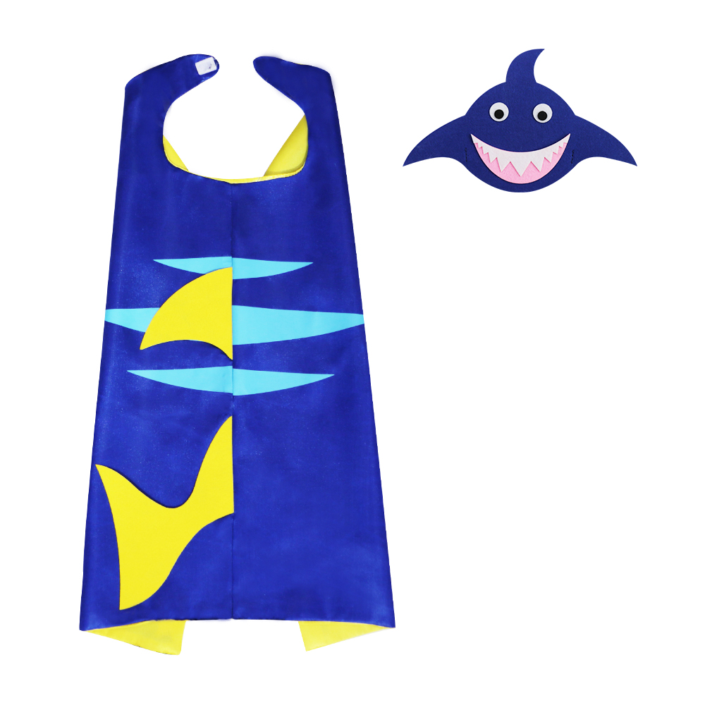 Special 70*70 Cm Blue Shark Costume Cape Mask Kids Anime Birthday Themed Elegant Gifts Kids Easter Costumes Nephew Gift