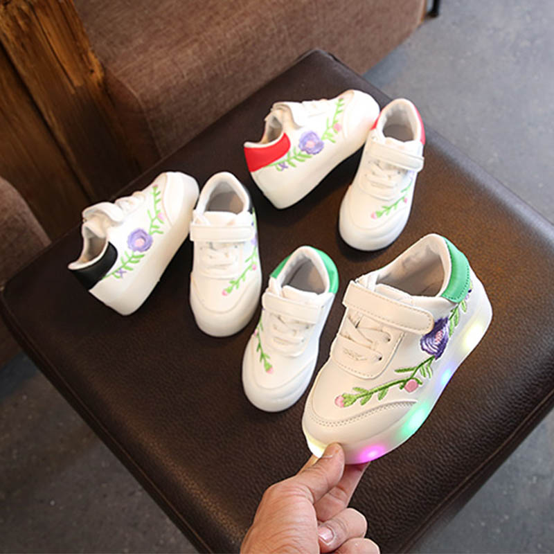 2018 Casual Children Shoes Kid LED Light Floral Decoration Hook&Loop Soft Running Sports Shoes Hot Selling Child Shoe H1