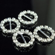 40pcs/lot 21*20mm Clear Round Rhinestone Buckle For Wedding Invitation Diamante Ribbon Sliders(China)