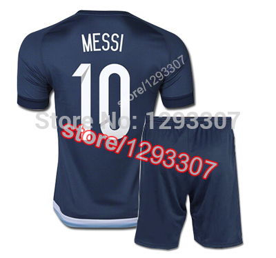 san francisco db2f8 e54cc US $16.0 |15 16 New Blue Away Embroidery Lionel Messi DI Maria Kun Aguero  Lavezzi Football Kit Uniform Men Sports Shirt Soccer Jersey Set-in Soccer  ...