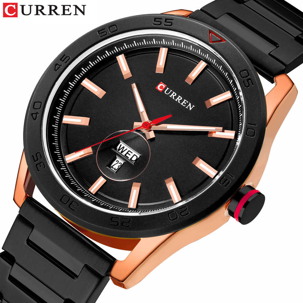 CURREN 腕時計男性用高級ステンレススチールバンド腕時計カジュアルスタイルクォーツ腕時計カレンダー黒時計男性ギフト