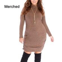 Merched Turtleneck Basic Mini Dress Women Autumn Sheath Bodycon Dress Casual Long Sleeve Vestidos de fiesta 5XL 6XL Plus Size