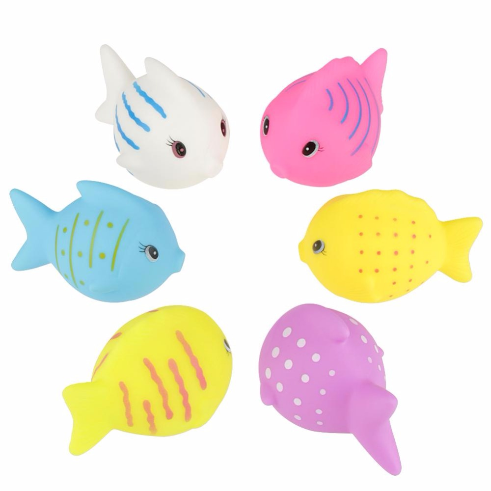 6PCS/Sets Funny Cartoon Fish Toys Baby Bath Toys Floating Sqeeze Sound Bathing Educational Rubber Shower Toys For Baby Children