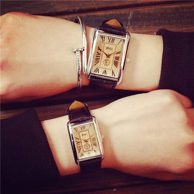 Rectangular Dial Roman Numerals Genuine Leather New Arrivals Lovers Watches Women Men Casual Fashion Retro Quartz Wristwatches