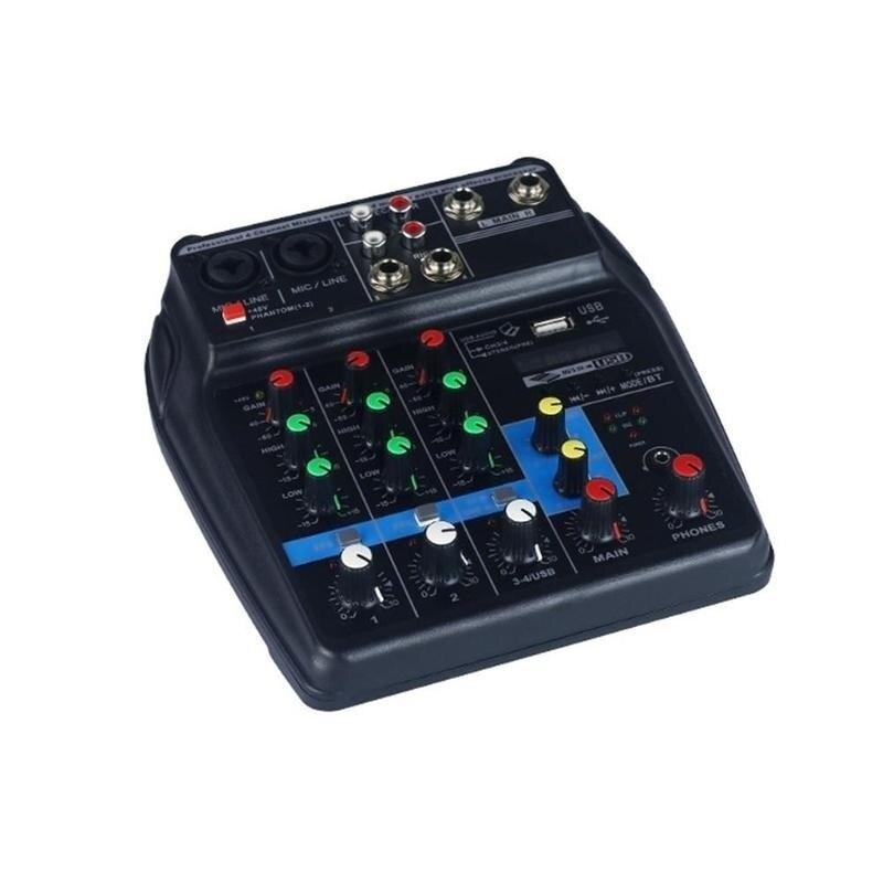 Nouvellement Mini amplificateur de mixage Audio USB carte Bluetooth 48 V alimentation fantôme 4 canaux pour DJ karaoké FMS19