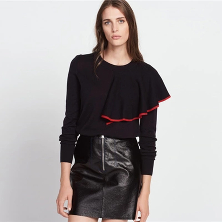Simple Casual Ruffle Sweater Round Neck Sexy Christmas Sweaters Fashion Ladies Knitwear Navidad Tops Women Winter Clothes 60N304