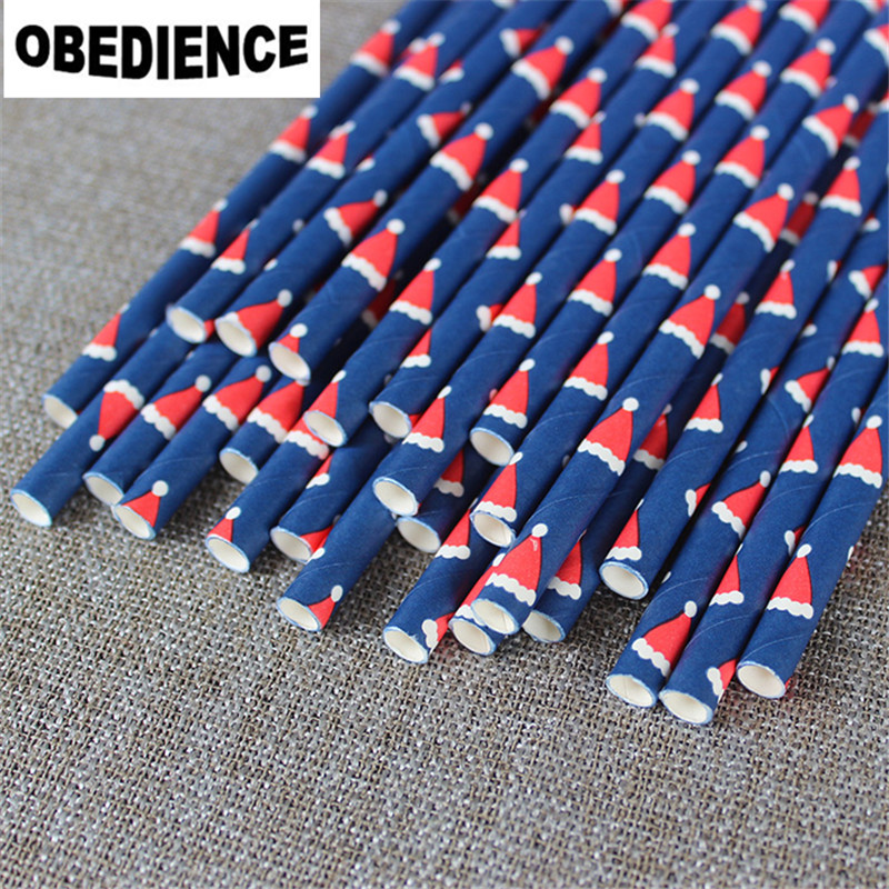 OBEDIENCE 50pcs/lot Blue With Christmas hats Paper drinking straw For Wedding Birthday Bar/Pub Supply