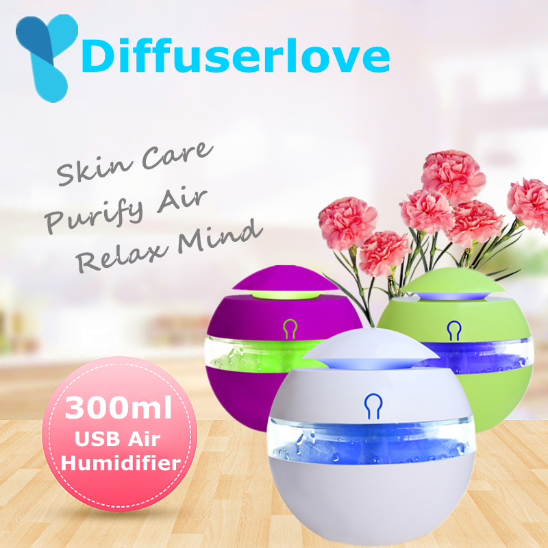 Diffuserlove 300ml USB Ultrasonic Aroma Mist Maker Aromatherapy Humidifier Essential Oil Diffuser With 7 Color LED Light