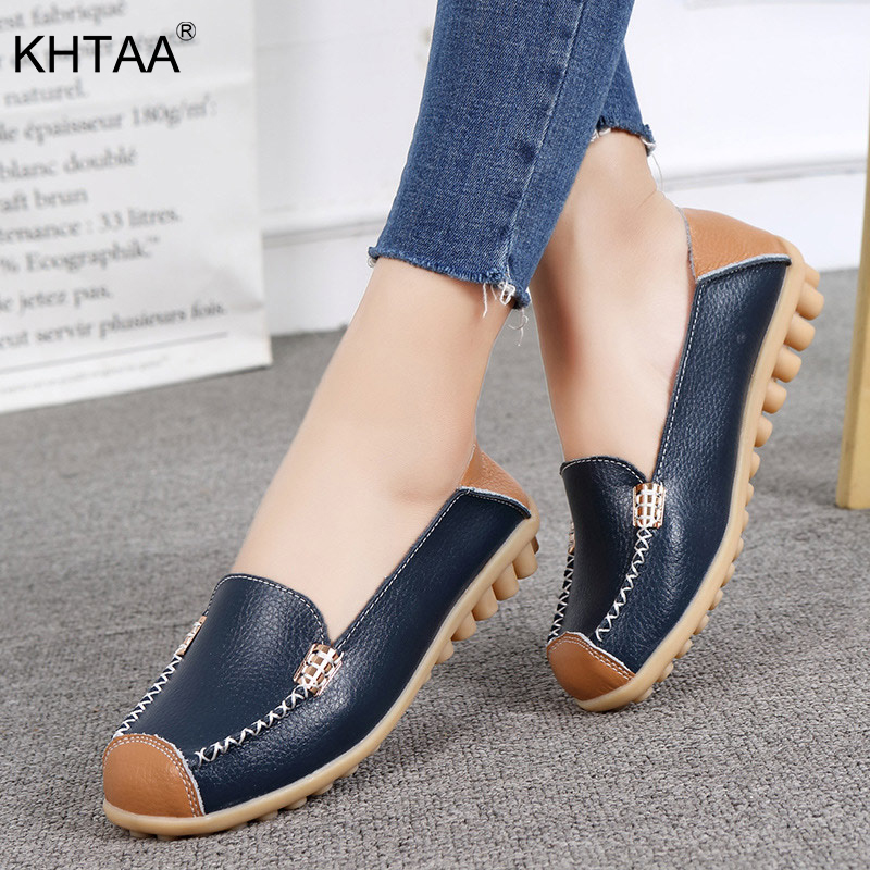 KHTAA Women Ballet Flat Slip On Autumn Loafers Ladies Plus Size Metal Sewing Square Toe Shoes Female Comfort Casual Mother Shoes female loafers new lace mother flat shoes fashion shallow mouth ladies peas shoes tendon casual women leather shoes plus size
