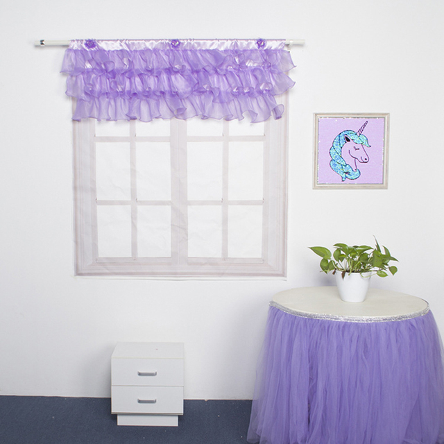 American Purple Pelmet Voile Kitchen Curtains Window Valance Children S Curtain For Room Door Short Tulle Finished