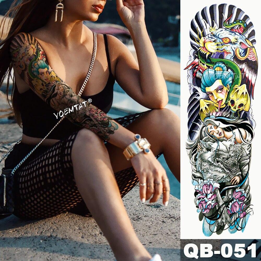 New 1 Piece Temporary Tattoo Sticker Japanese Style Dragon Ocean Tattoo Arm Body Art Big Sleeve Large Fake Tattoo Sticker Tattoo & Body Art