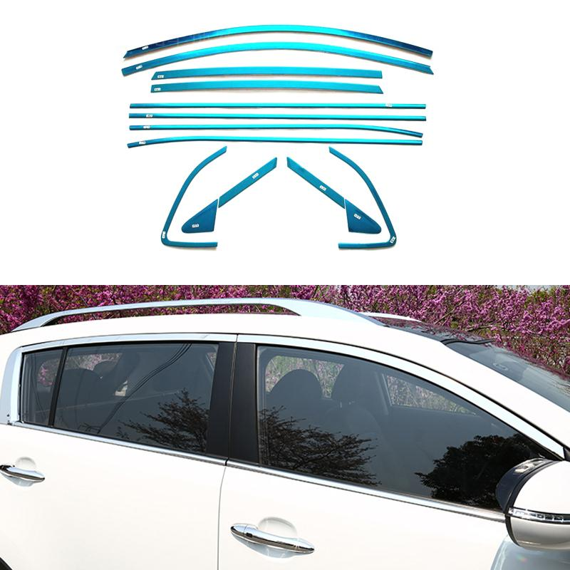 Stainless Steel Car Styling Full Window Trim With Front Triangle Decoration Strips For Kia Sportage 2013 2014 2015 OEM-16 high quality stainless steel strips car window trim decoration accessories car styling 12pcs for 2009 2015 kia sportage