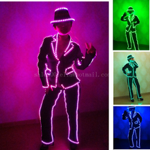 Bar Performance LED Luminous Sexy Clothes Nightclub Cosplay Costume Led MJ Style Suit Can change 7 Colors For Women Dance Wear