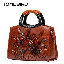 TOMUBIRD nueva marca famosa piel de vaca Superior de cuero Repujado bolso de las mujeres de moda de Lujo bolsos de cuero genuino bolso de Mano