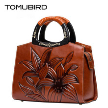 TOMUBIRD new Superior cowhide leather Embossing famous brand women bag fashion Luxury genuine leather handbags Tote