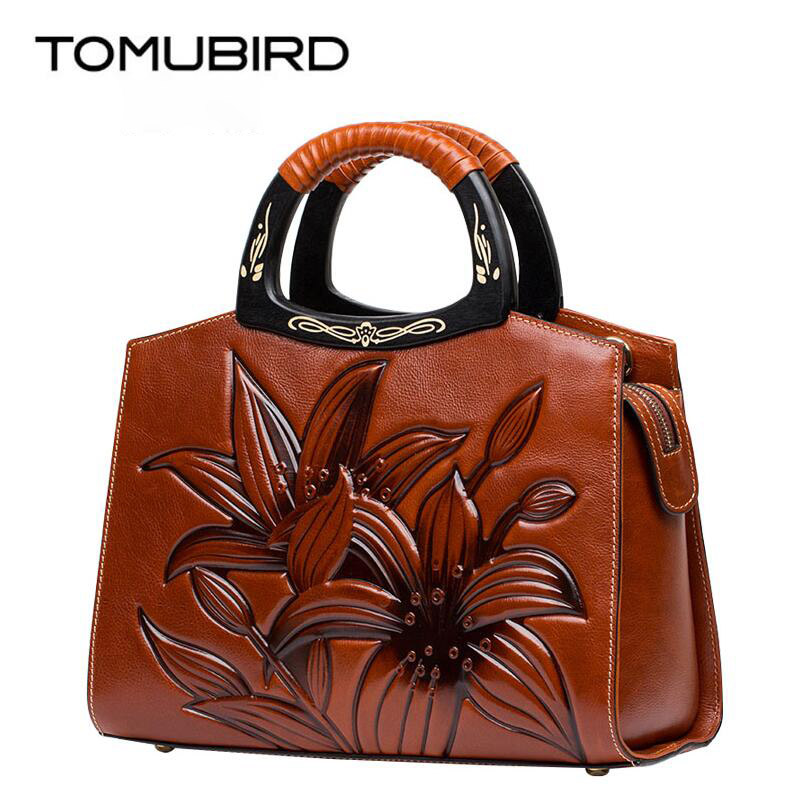 TOMUBIRD new Superior cowhide leather Embossing font b famous b font font b brand b font