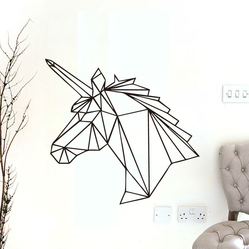 geometrische einhorn tier wand aufkleber abnehmbare pferd kopf vinyl applique wohnkultur neue. Black Bedroom Furniture Sets. Home Design Ideas