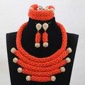 2017 Orange Crystal Ручной Золото Ювелирные Наборы Африканских Свадебные/Женщины Ожерелья Шариков Комплект Ювелирных Изделий Бесплатная Доставка ANJ273