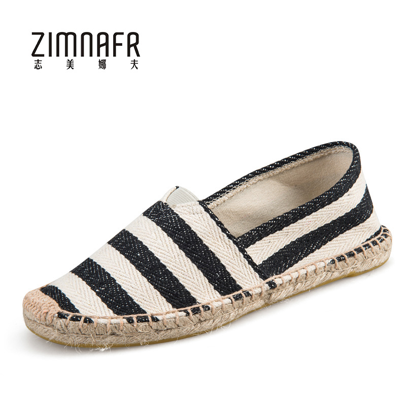 Women's Espadrilles Shoes Handmade Strip Flat Shoes Espadrilles Summer Canvas Footwear Espadrilles Women 2017 Large Size Sapatos canvas espadrilles striped flat shoes