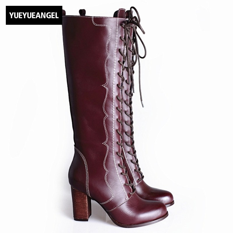 Women Long Shoes Top Brand Cow Leather Round Toe High Heels Lace Up Thigh High Boots Quality Side Zipper Over The Knee Boots the new high quality imported green cowboy training cow matador thrilling backdrop of competitive entrance papeles