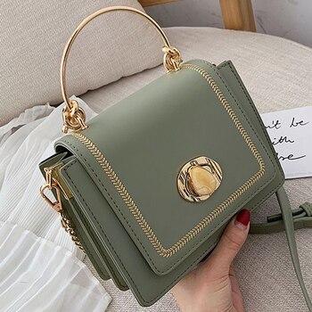 Женские кожаные мини-сумки через плечо, однотонные, на лето, 2019