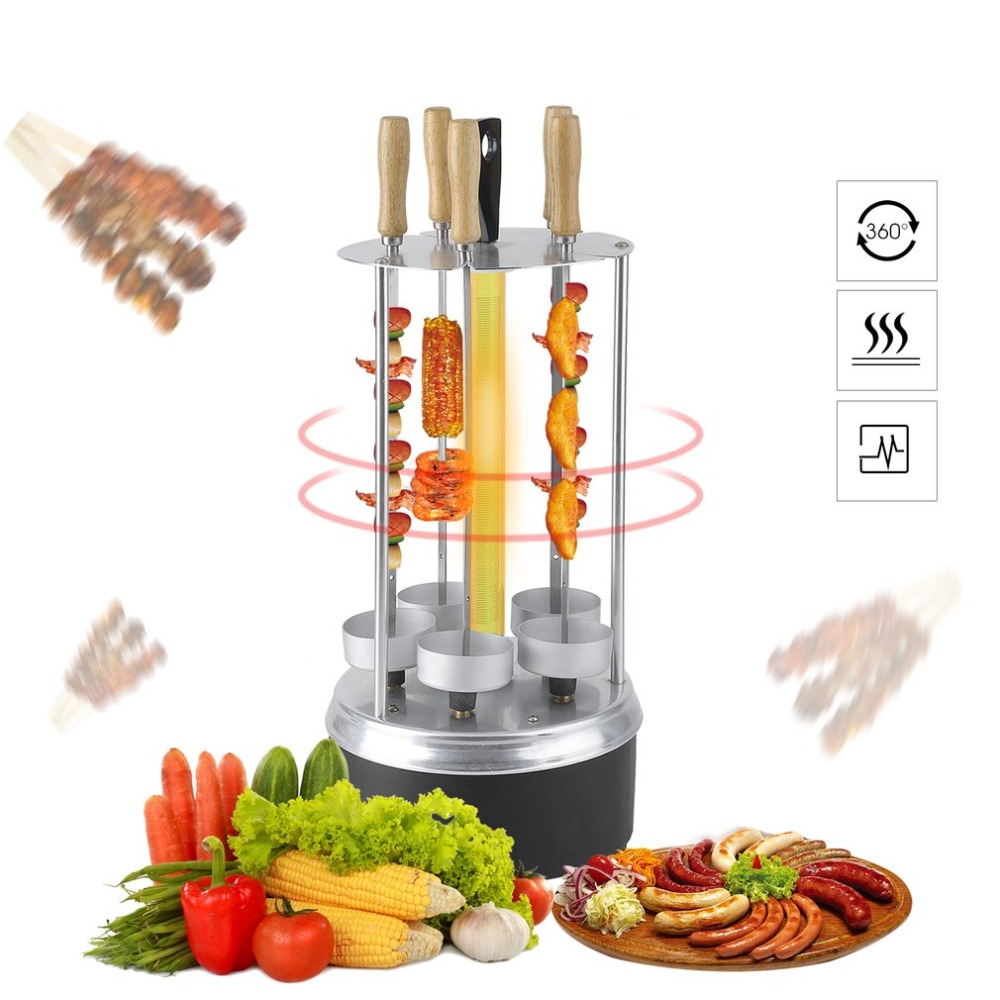 2018 Automatic Rotating Barbecue Grill Electric Smokeless Oven Vertical BBQ Rotary Grill Household Lamb Skewers Kebab Machine 25 automatic smokeless bbq grill household electric hotplate stove teppanyaki barbecue pan skewer machine stainless steel outdoor