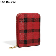 UR BOURSE Womnes Simple Plaid Card Holder Leather Coin Purse Ladies Multi-card Small Wallet Female Large-capacity Organ