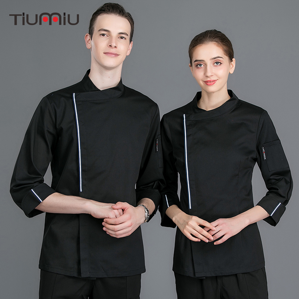 New Arrival Unisex Chef Jacket Long-sleeved Food Service Kitchen Work Uniform Cooking Coat Restaurant Catering Overalls Tops