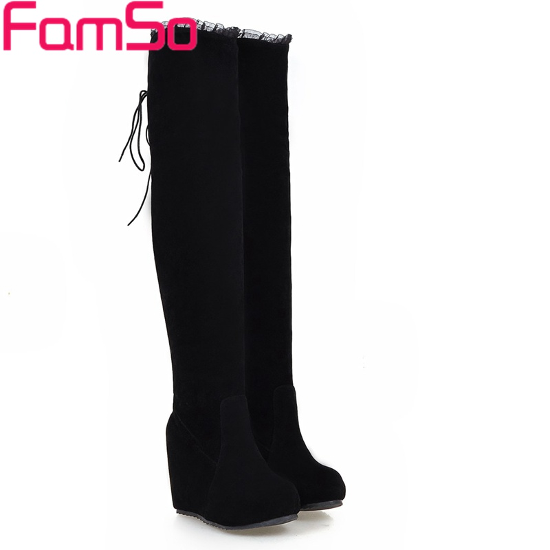 ФОТО Free shipping 2017 New Classics Women Boots Black blue Wedges High Heels Over the Knee Boots Winter Warm Snow Boots ZWB4382