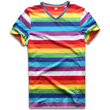 Striped T Shirts Rainbow Top Tees for Women V Neck Woman Short Sleeve Colorful Stripes