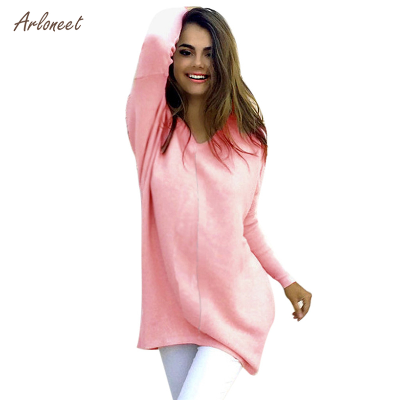 Arloneet Fashion 4 Colors Womens Solid Casual Long Sleeve Jumper Standard Sweaters Blouse 2017 Hot Dropshipping OB19
