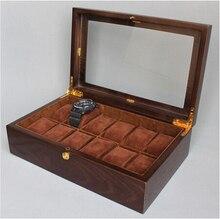 Роскошные 12-grid черный орех деревянные часы коробка с стекло смотреть box 12 смотреть winder концентратор часы MSBH008
