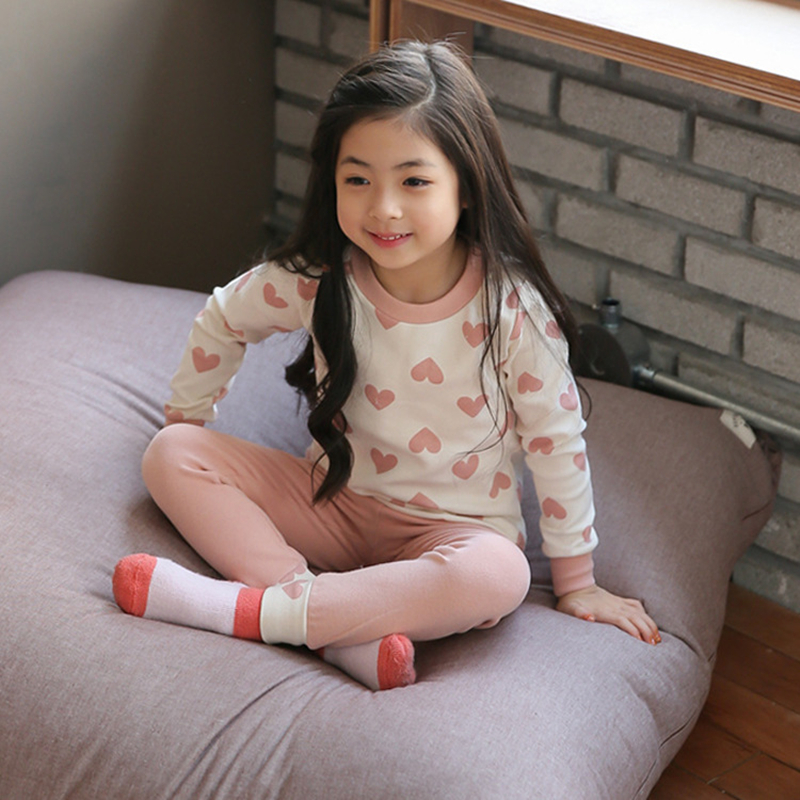 Girls Sleepwear Cotton Pajamas For Girls Long Sleeved T-shirt+Pants 2Pcs Kids Suits Casual Heart Print Home Girls Clothing Set