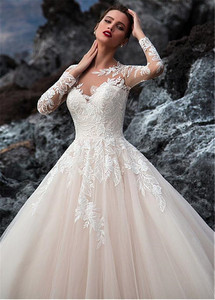 Image 3 - Exquisite Tulle Jewel Neckline A line Wedding Dress With Beadings Lace Appliques Long Sleeves Beach Bridal Gowns