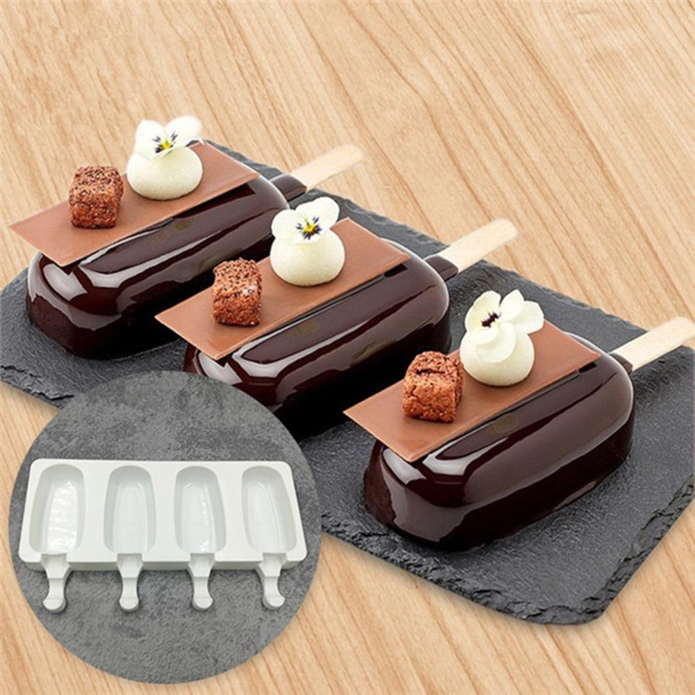 Silicone Ice Cream Molds DIY 4 Cavities Ice Lolly Moulds Freezer Ice Cream Bar Molds with Popsicle Sticks Eco Friendly FGX0004 in Cake Molds from Home Garden