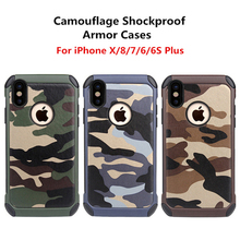 цена на Army Camo Shockproof Cover Case For iPhone 4 4S SE 5 5S 6 6S Plus Camouflage Armor Cover Case For iPhone X 7 8 Plus Case Coque