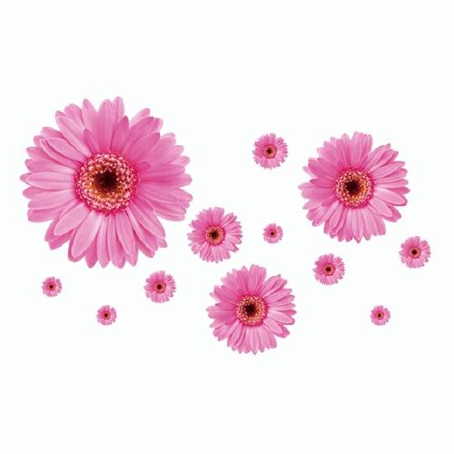 2 set amovibile decalcomanii din PVC roz și galben flori decorative - Decoratiune interioara - Fotografie 3