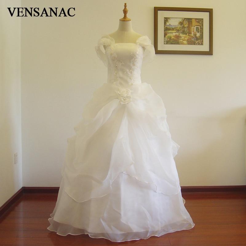 VENSANAC 2017 Nueva A Line Rebordear Con cuello en V Manga corta Manga corta Blanco Satinado Vestido de novia nupcial Vestido de novia 30754