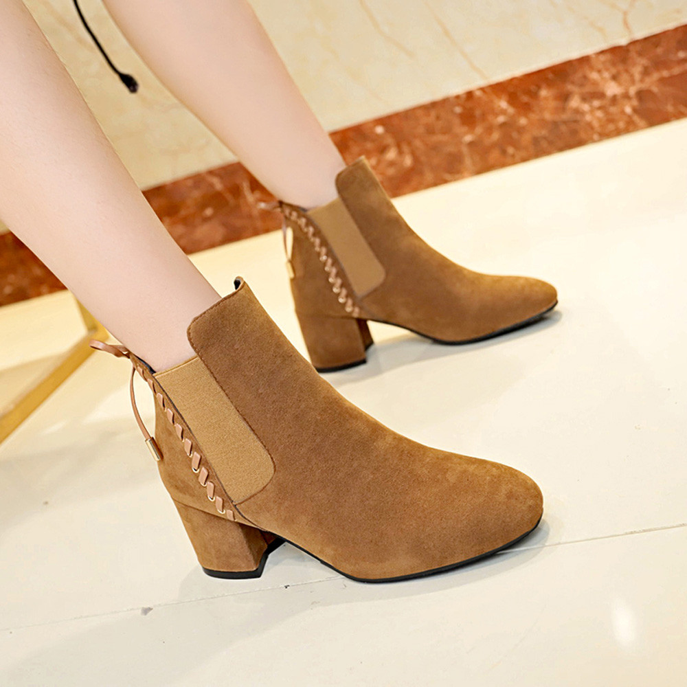 Talón Zapatos khaiki Sólido Punta Slip Invierno Color Marciano Alto Botines Del Suede Mujeres Atractivos Redonda Negro Señoras Botas on 8Cd1xqwx