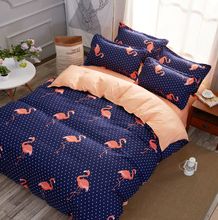 MECEROCK European and American Popular Flamingo Pattern Bedding Set Fashion Bed Sheet Duvet Cover Sets Double Queen Bed Linens