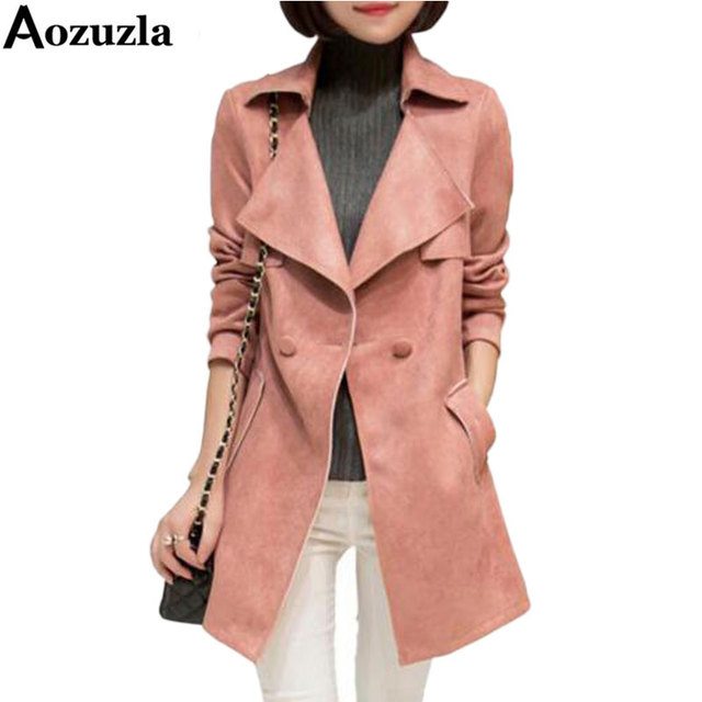 Women Trench Coat 2017 Solid Long Suede Autumn Women's Outerwear Clothes New Brand Fashion Turn Down Collar Trench Coats Y272
