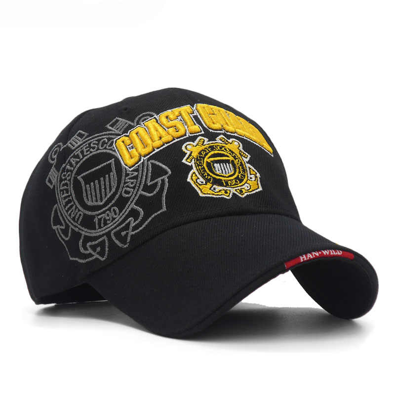 308e88938f8 ... Black USA Coast Guard Army Men Cap Bone US Navy Hat Baseball Cap Men  Women Outdoor ...