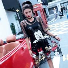 Minnie Mouse ruha jelmezek Halloween nők Sequin hímzés Slim Dress Nyári Anime Nightclub Ladies Sling póló ruhák