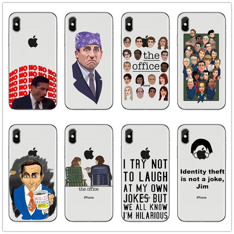 For iPhone 11Pro Max XS XS MAX 5S SE 6 6S 7 8 Plus Michael Scott The Office Funny Humor Accessories TV Soft Phone Cases Covers image