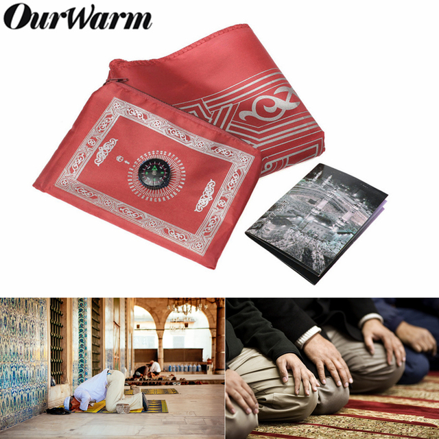 OurWarm Portable Muslim Prayer Mat Folding Rug Waterproof Muslim Islam Carpet With Compass Eid Mubarak Ramadan Kareem Decoration