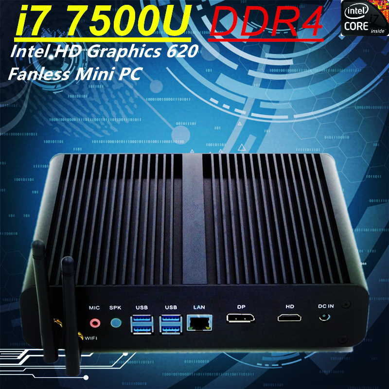 i7 7500U Fanless Mini PC Intel HD Graphics 620 Windows 10 300M Wifi