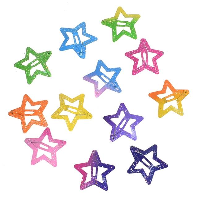 12 unids/set estrellas forma de mariposa pelo Snap Clips 2,5 cm horquillas coloridas purpurina pentagrama Metal pelo Clips lindos