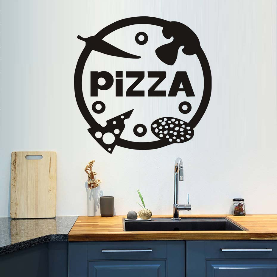 Pizzeria Diy Wall Decals Vinyl Stickers Home Decor Kitchen Vegetables Pizza Wall Sticker Dining Room Shop Decoration Art Black